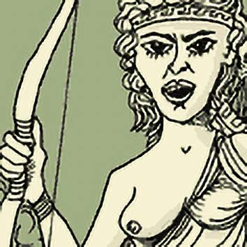 Picture of the Greek Hunting Goddess Artemis from our Greek mythology image library. Illustration by Chas Saunders.