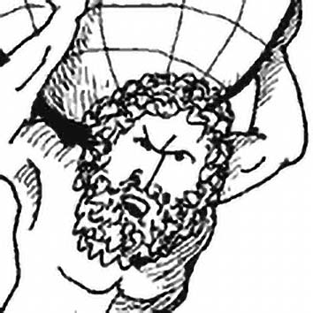 Picture of the Greek Strength God Atlas from our Greek mythology image library. Illustration by Chas Saunders.