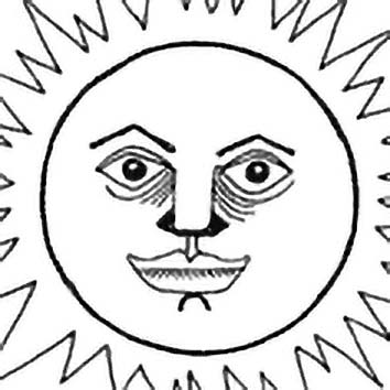 Picture of the Micronesian Sun God Auriaria from our Micronesian mythology image library. Illustration by Chas Saunders.
