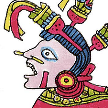 Picture of the Aztec Water Goddess Chalchiuhtlicue from our Aztec mythology image library. Illustration by Chas Saunders.