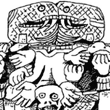 Picture of the Aztec Earth Goddess Coatlicue from our Aztec mythology image library. Illustration by Chas Saunders.