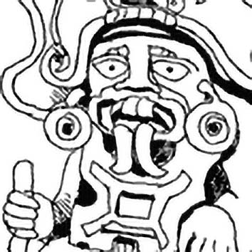 Picture of the Zapotec Rain God Cocijo from our Zapotec mythology image library. Illustration by Chas Saunders.