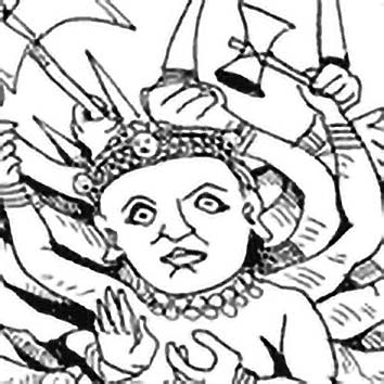 Picture of the Hindu War Goddess Durga from our Hindu mythology image library. Illustration by Chas Saunders.