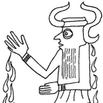 Picture of the Mesopotamian Creator God Ea from our Mesopotamian mythology image library. Illustration by Chas Saunders.