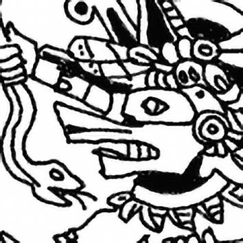 Picture of the Aztec Wind God Ehecatl from our Aztec mythology image library. Illustration by Chas Saunders.