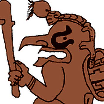 Picture of the Maya Cocoa God Ek Chuah from our Maya mythology image library. Illustration by Chas Saunders.