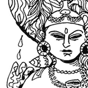 Picture of the Hindu River Goddess Ganga from our Hindu mythology image library. Illustration by Chas Saunders.