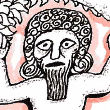 Picture of the Mesopotamian Hero God Gilgamesh from our Mesopotamian mythology image library. Illustration by Chas Saunders.