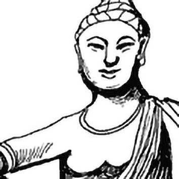 Picture of the Buddhist Protection Goddess Guanyin from our Buddhist mythology image library. Illustration by Chas Saunders.