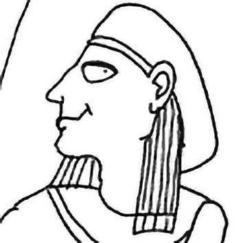 Picture of the Egyptian River God Hapy from our Egyptian mythology image library. Illustration by Chas Saunders.