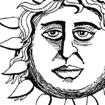 Picture of the Greek Sun God Helios from our Greek mythology image library. Illustration by Chas Saunders.