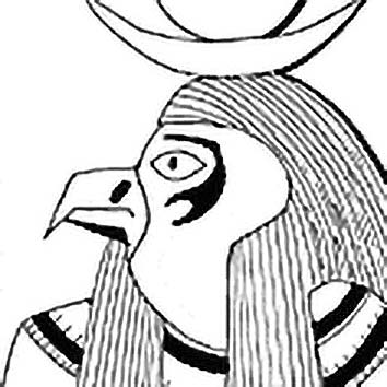 Picture of the Egyptian Sky God Horus from our Egyptian mythology image library. Illustration by Chas Saunders.