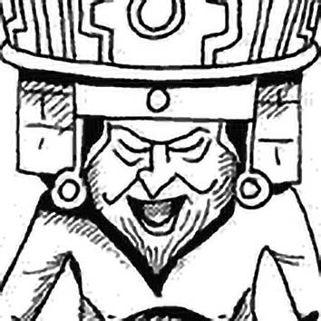 Picture of the Aztec Fire God Huehueteotl from our Aztec mythology image library. Illustration by Chas Saunders.