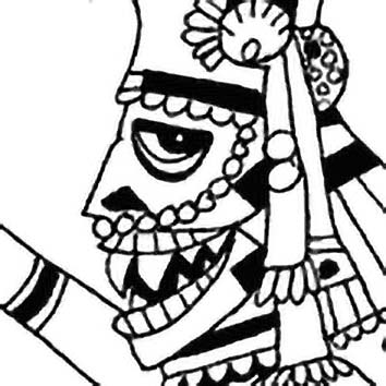 Picture of the Aztec War God Huitzilopochtli from our Aztec mythology image library. Illustration by Chas Saunders.