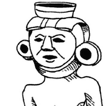 Picture of the Maya Sun God Hunahpu from our Maya mythology image library. Illustration by Chas Saunders.
