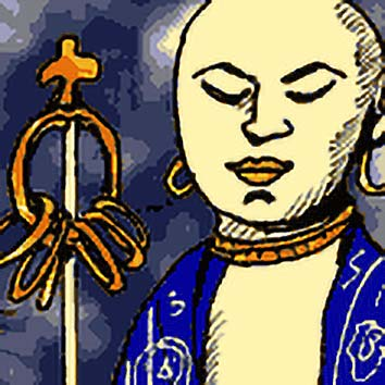 Picture of the Buddhist Protection God Jizo from our Buddhist mythology image library. Illustration by Chas Saunders.