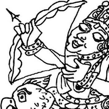 Picture of the Hindu Desire God Kama from our Hindu mythology image library. Illustration by Chas Saunders.