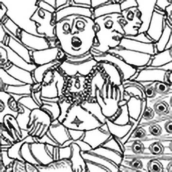 Picture of the Hindu War God Kârttikeya from our Hindu mythology image library. Illustration by Chas Saunders.