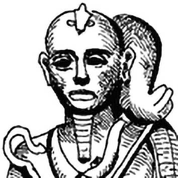 Picture of the Egyptian Moon God Khonsu from our Egyptian mythology image library. Illustration by Chas Saunders.