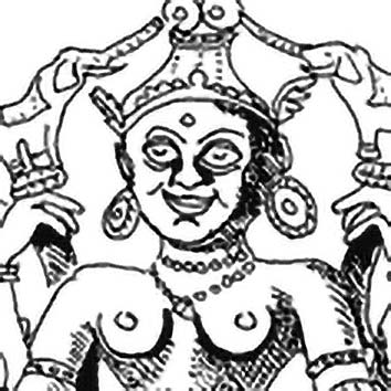 Picture of the Hindu Good Luck Goddess Lakshmi from our Hindu mythology image library. Illustration by Chas Saunders.