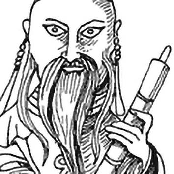 Picture of the Chinese Wealth God Luxing from our Chinese mythology image library. Illustration by Chas Saunders.