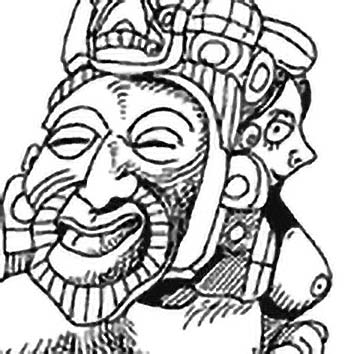 Picture of the Aztec Supreme God Ometecuhtli from our Aztec mythology image library. Illustration by Chas Saunders.