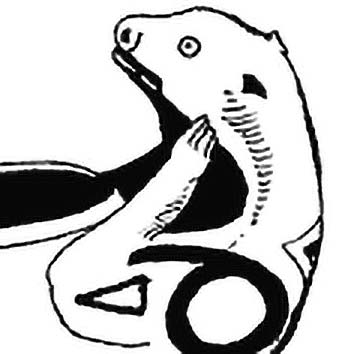Picture of the Native American God Otter from our Native American mythology image library. Illustration by Chas Saunders.