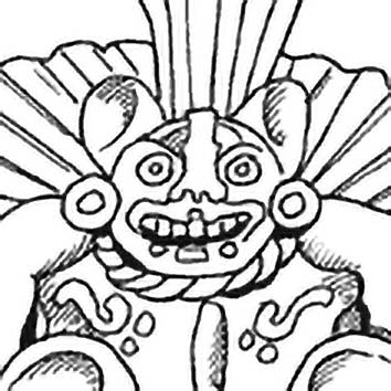 Picture of the Zapotec Bat God Piquete Ziña from our Zapotec mythology image library. Illustration by Chas Saunders.