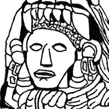Picture of the Aztec Creator God Quetzalcoatl from our Aztec mythology image library. Illustration by Chas Saunders.