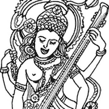 Picture of the Hindu Education Goddess Sarasvati from our Hindu mythology image library. Illustration by Chas Saunders.