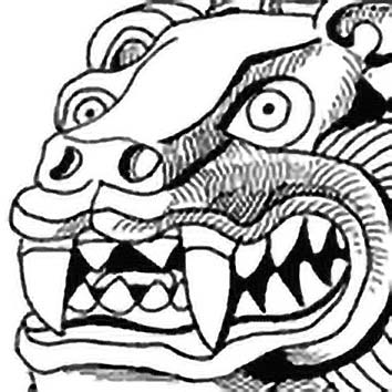 Picture of the Aztec Night-time God Tezcatlipoca from our Aztec mythology image library. Illustration by Chas Saunders.