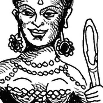 Picture of the Hindu Light Goddess Ushas from our Hindu mythology image library. Illustration by Chas Saunders.
