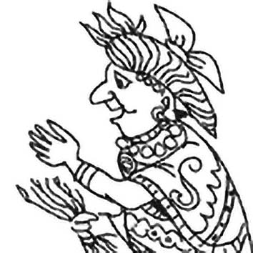 Picture of the Aztec Commerce God Yacatecuhtli from our Aztec mythology image library. Illustration by Chas Saunders.
