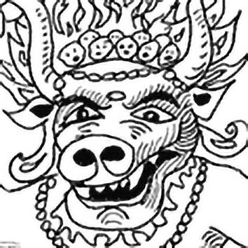 Picture of the Hindu Death God Yama from our Hindu mythology image library. Illustration by Chas Saunders.